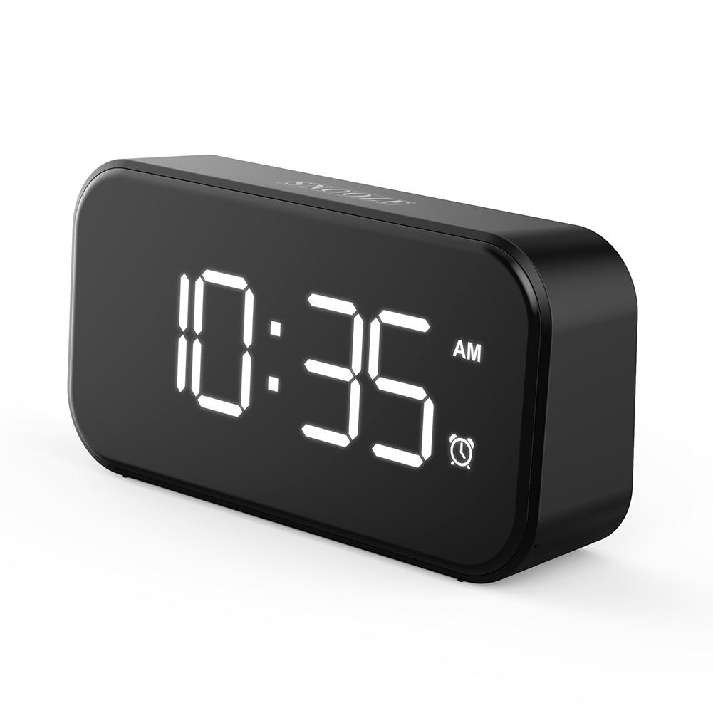 Digital Alarm Clock LED Screen Alarm Settings Snooze USB Port Bedroom Alarm Clock white