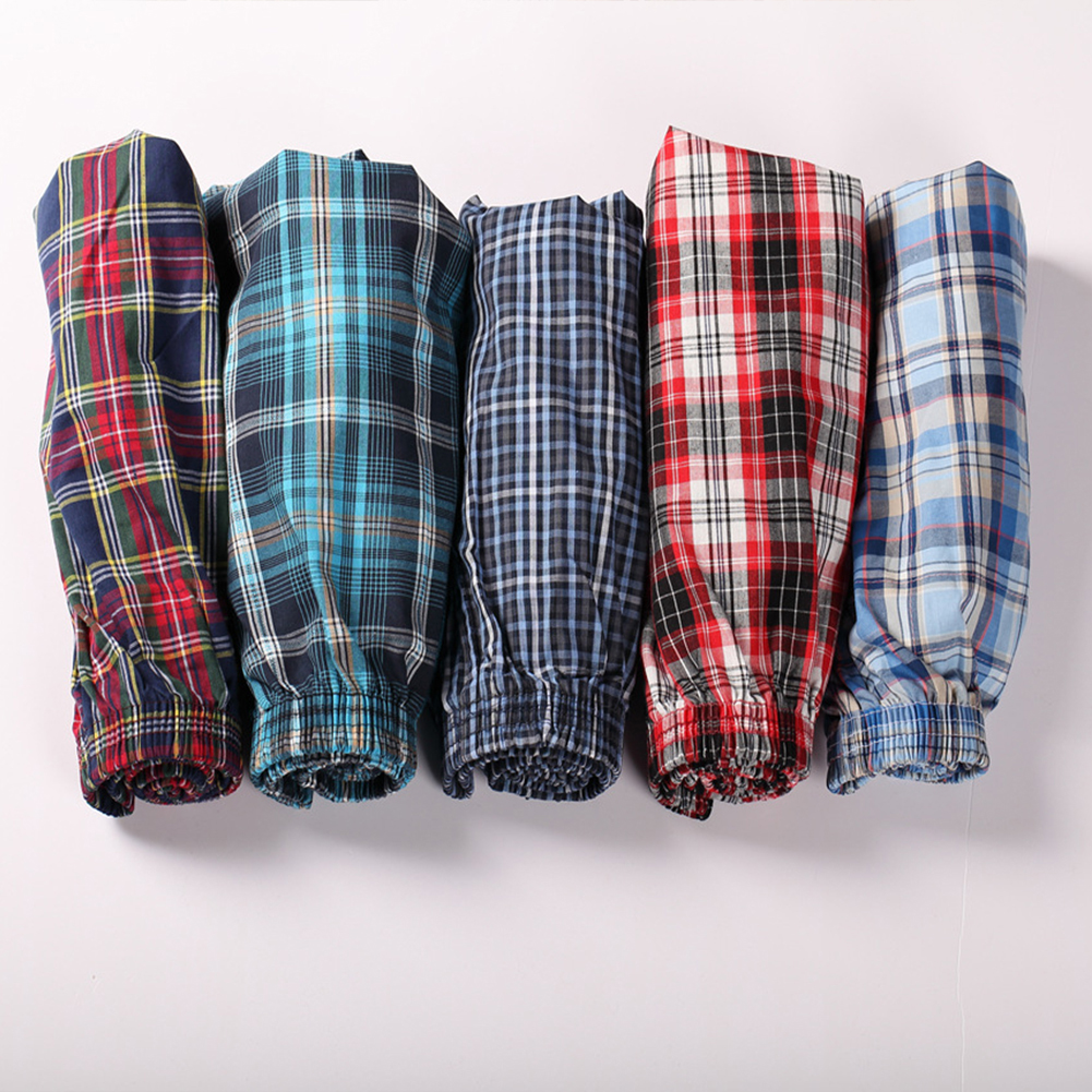 Men Cotton Plaid Printing Loose Boxer Shorts Pyjamas for Home Wear Random Style random color_XXL