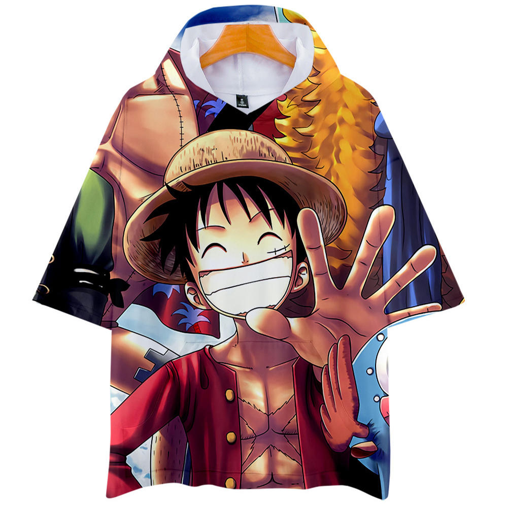 Men Women 3D Digital Printing Cartoon One Pieces Short Sleeve Hooded T Shirt Q-5697-YH09 Q_S