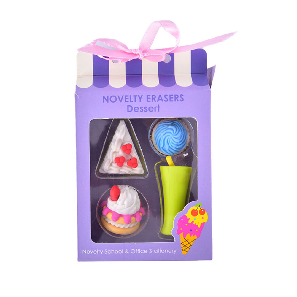 Food Cake Shape Eraser Children Gift Kids Cartoon Rubber  Eraser Stationery NOVELY ERASRS Dessert