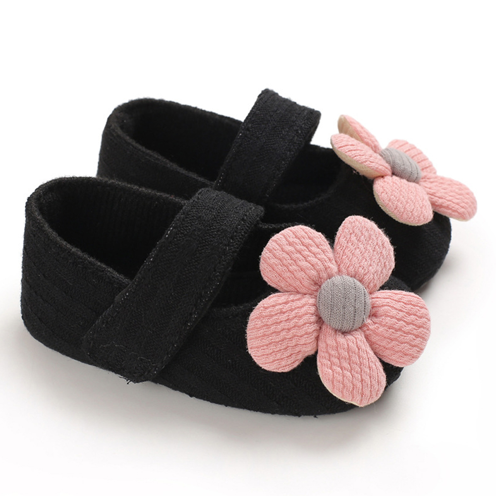 Cute Flower Soft Sole Non-Slip Prewalker Princess Shoes for Kids Baby Toddler Girls black_Inside length 11 cm