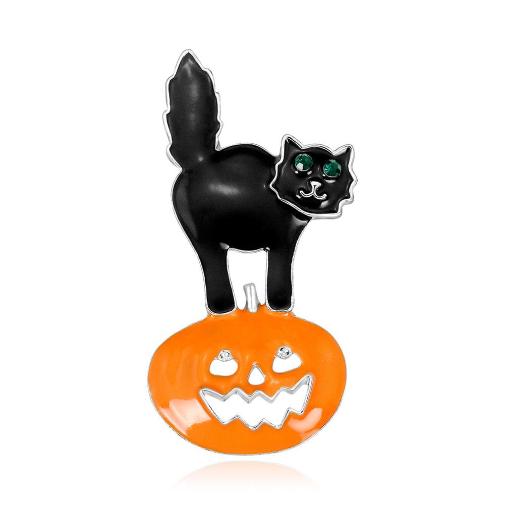 Cartoon All-match Halloween Pumpkin Cat Brooch Chic Unique Breastpin  AL435-A