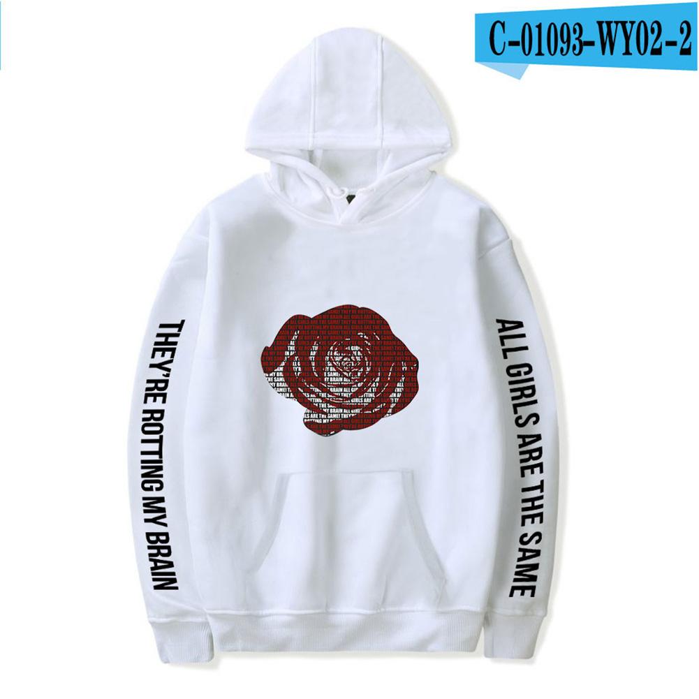 Men Women Hoodie Sweatshirt Juice WRLD Flower Letter Printing Unisex Loose Pullover Tops White_XXL