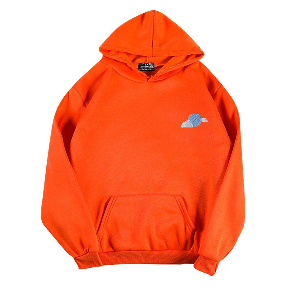 Men Women Hoodie Sweatshirt Thicken Velvet Loose Cloud Autumn Winter Pullover Tops Orange_XXXL