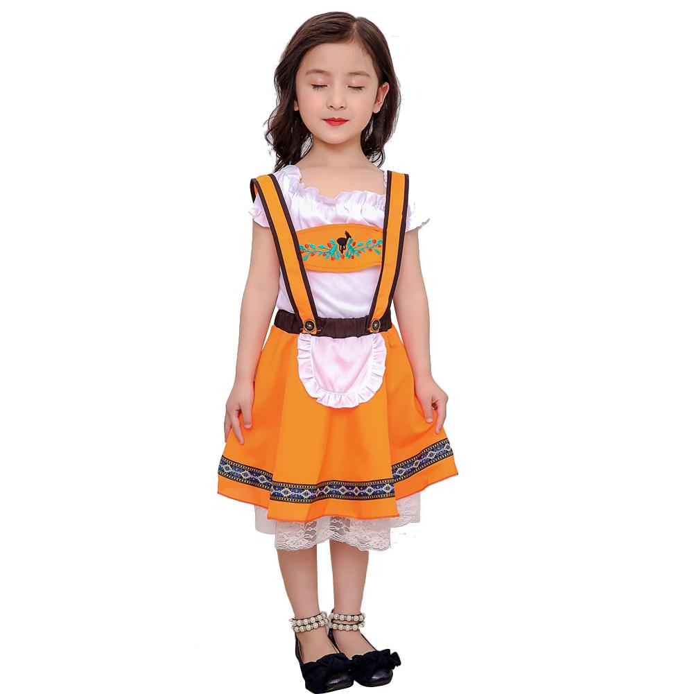 Children Girl Boy Oktoberfest Waiter Waitress Costume Beer Festival Suit Orange girl_XXL