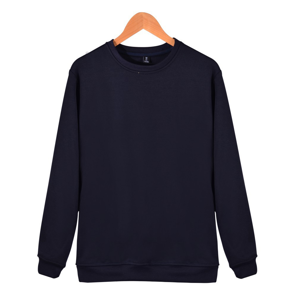 Men Solid Color Round Neck Long Sleeve Sweater Winter Warm Coat Tops Dark blue_L