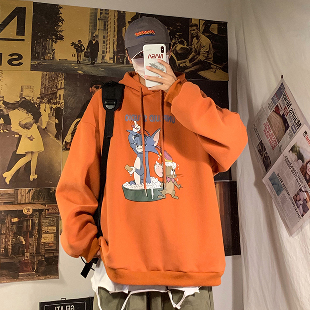 Men Women Hoodie Sweatshirt Tom and Jerry Cartoon Printing Loose Fashion Pullover Tops Orange red_L