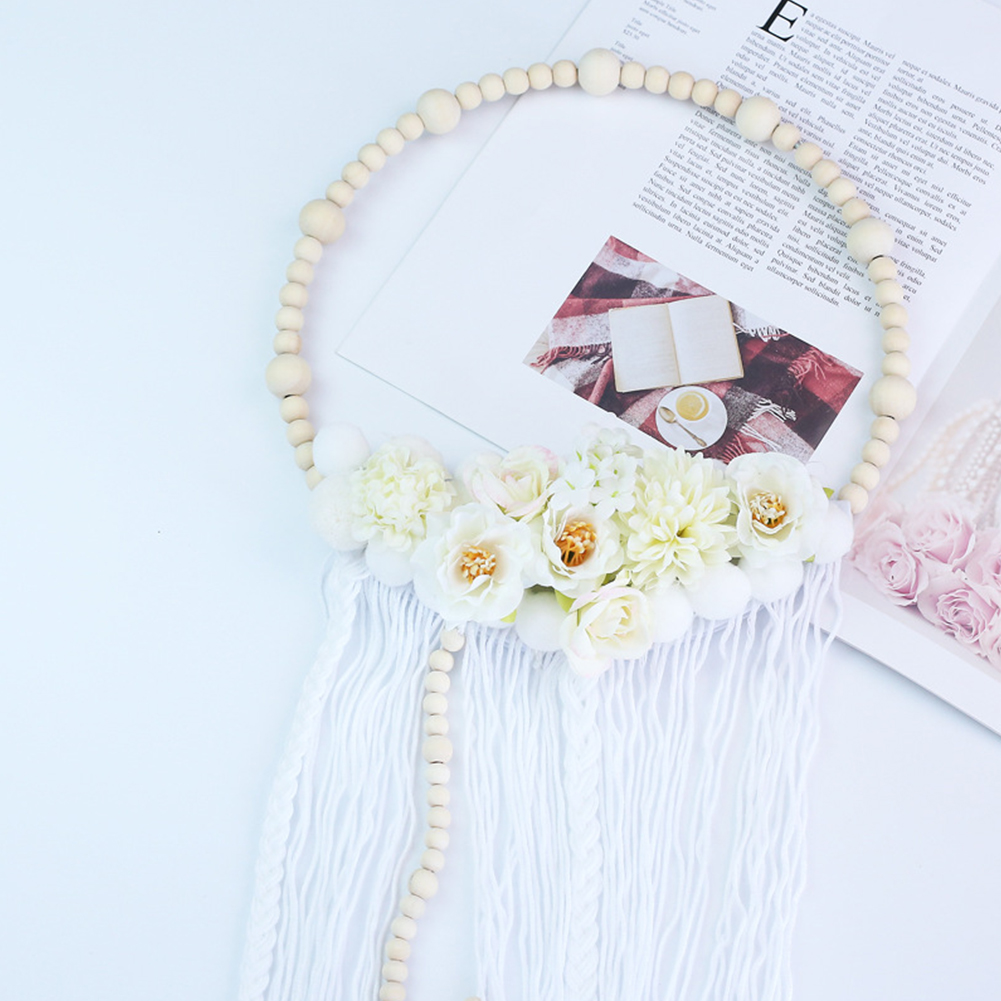 Wooden Beads Plush Ball Garland with Tassel Wall Decoration Photography Props Tassel white