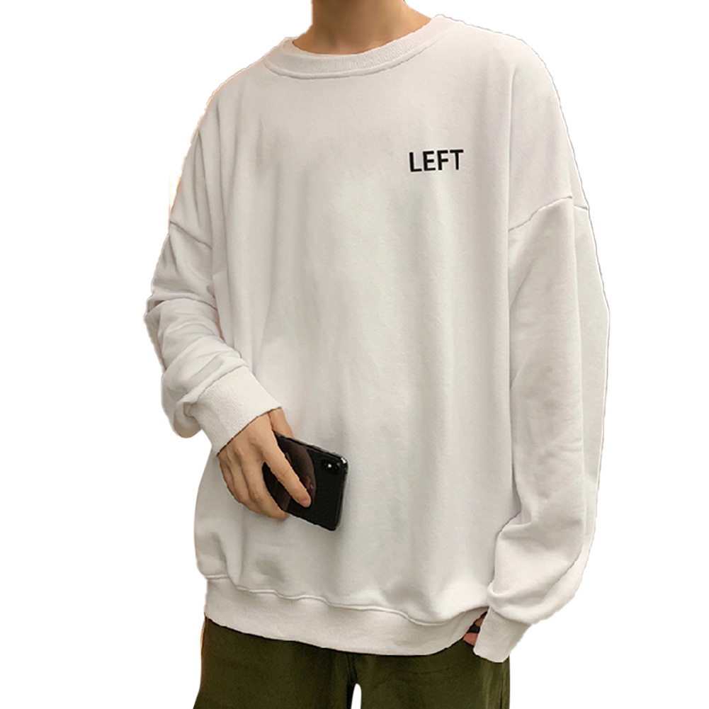 Men Crew Neck Sweatshirt Solid Color Printing LEFT Loose Casual Male Pullover Tops White_L