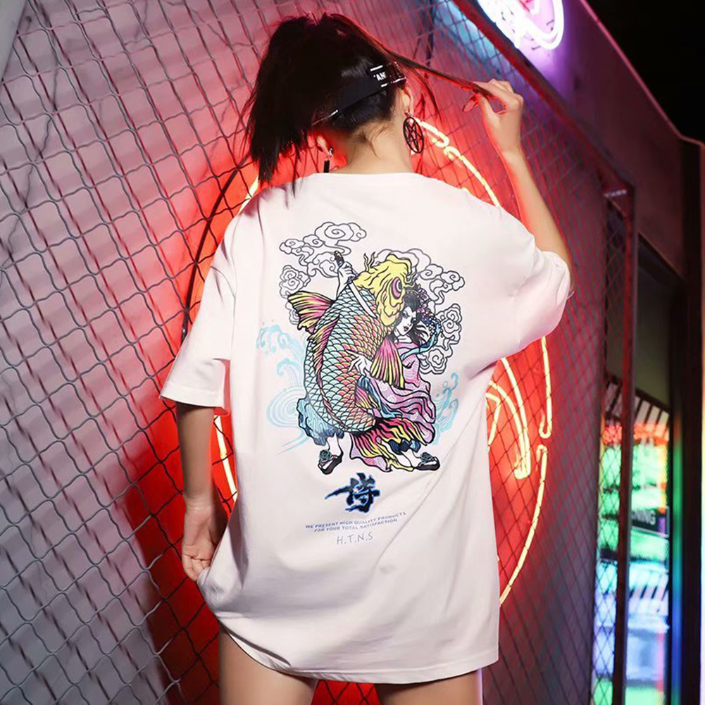 Men And Women Couple Summer Colorful Fish Printing Short-sleeved T-shirt Tops white_XL