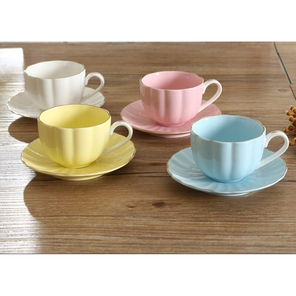 Simple Solid Color Drinkware Set Ceramics Coffee Cup+Saucer Set
