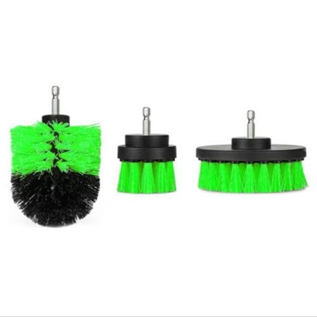 3Pcs/Set Automobile Tire Brush Electric Cleaning Brush Electric Drill Brush Home Cleaning Tool green
