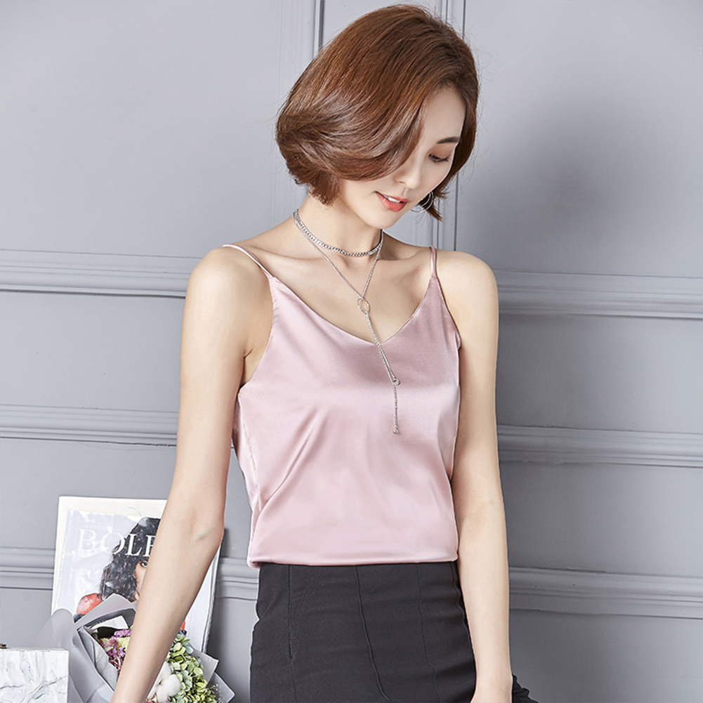 Women Sexy Sling Vest Ice Silk V Collar Sleeveless Solid Color Tops Pink_S