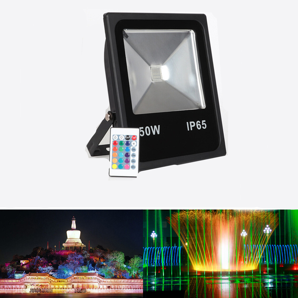 LED 50W RGB Flood Light Outdoor RC Spotlight Floodlight Lamp Reflector Waterproof Garden Lighting