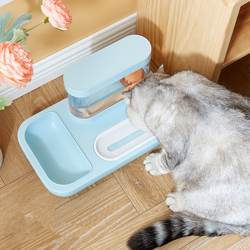 Automatic  Dispenser Double Bowl Drinking Fountain For Cat Dog Drinking Feeding Sky blue_Landscape bowl