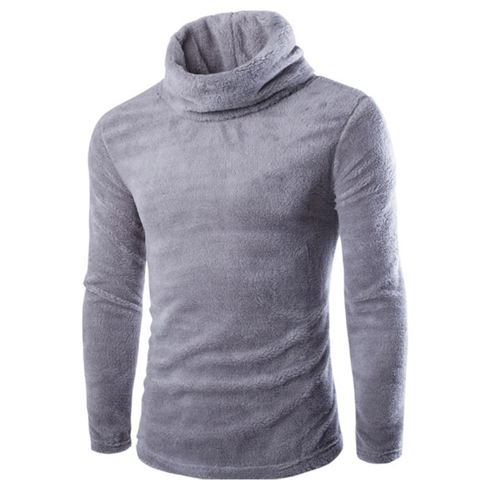 Slim Pullover Long Sleeves and High Collar Sweater Solid Color Base Shirt for Man light grey_L