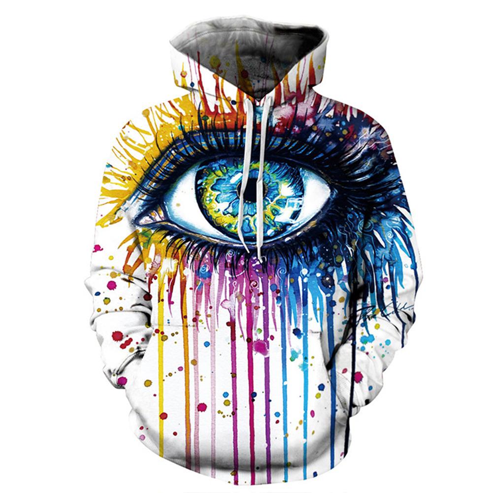 Universal 3D Graffiti Large Eye Printing Hooded Sweatshirt Photo Color_L