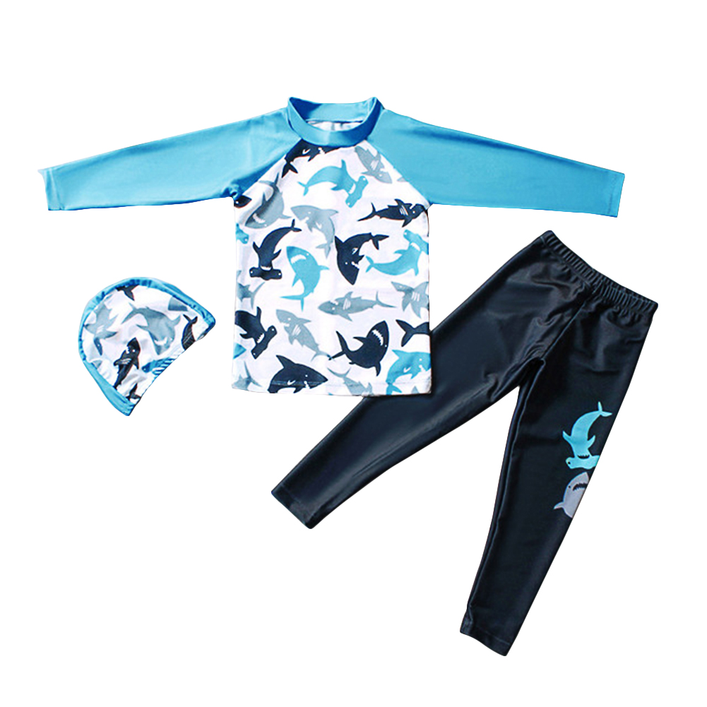 Children Boy Long-sleeved Split Dolphin Pattern Sun Protection Swimsuit Sky blue_XL