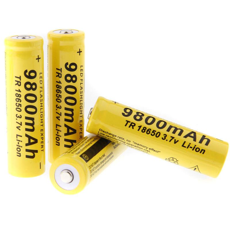 EastVita GTF 4pcs 3.7V 18650 Led Flashlight 9800mAh Li-ion Rechargeable Battery + Charger