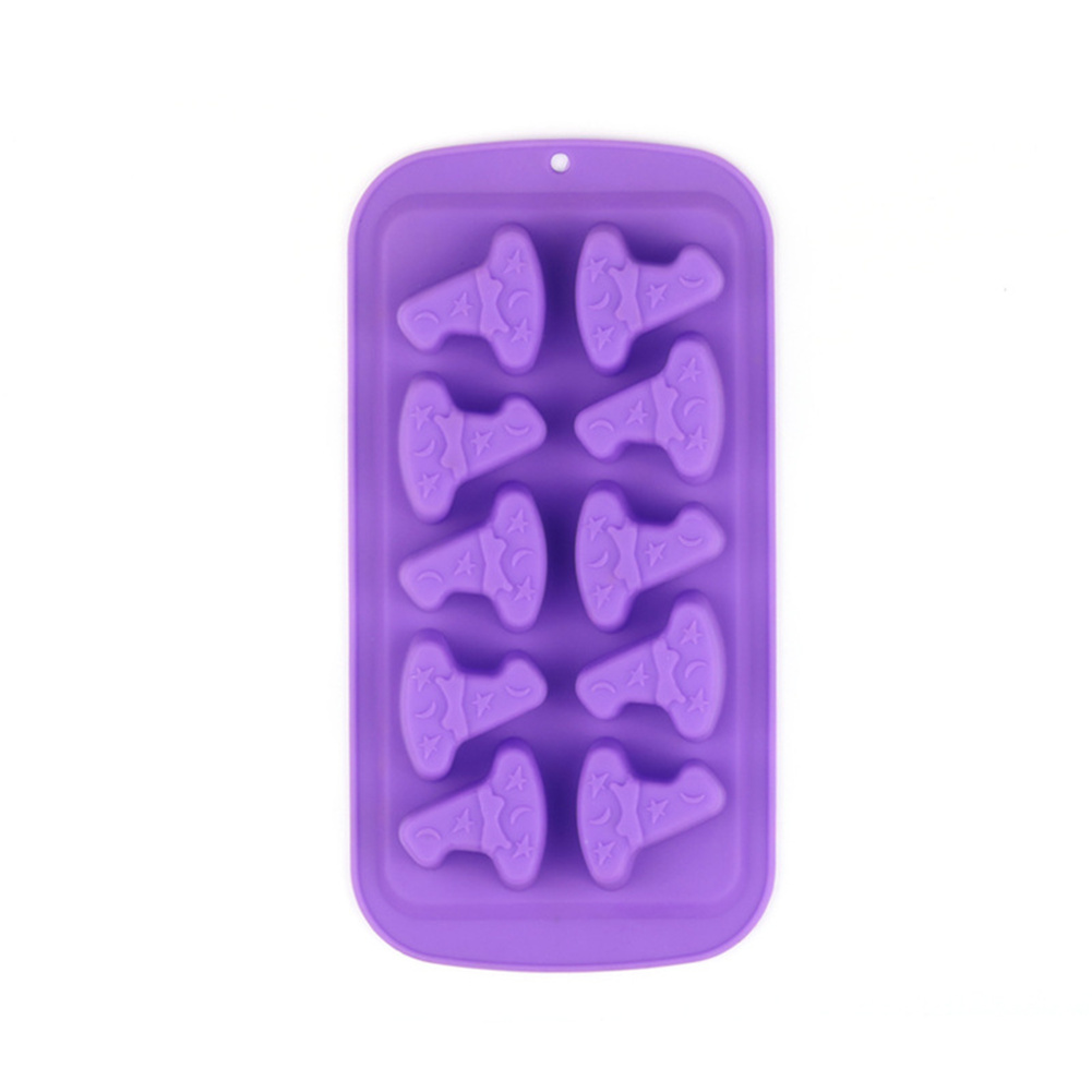 Silicone Halloween Style Biscuit Chocolate Bakery Mold Kitchen Baking  Accessories Purple wizard hat