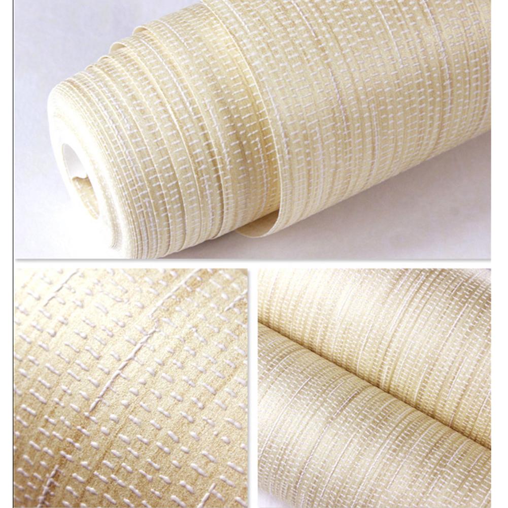 Simple Linen Grain Non-Woven Wallpaper Home Livingroom Bedroom Decor 10M Light coffee