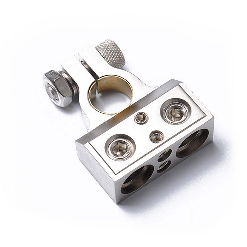 Dual 1/0 & 8 Gauge Positive or Negative Battery Terminal Universal Application Silver_A0111