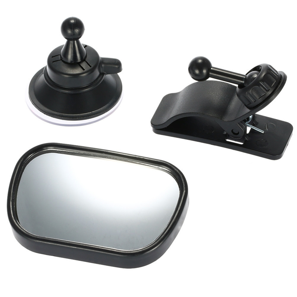 [Indonesia Direct] 2 in 1 Mini Safety Car Back Seat Baby View Mirror Adjustable Baby Rear Convex Mirror  black