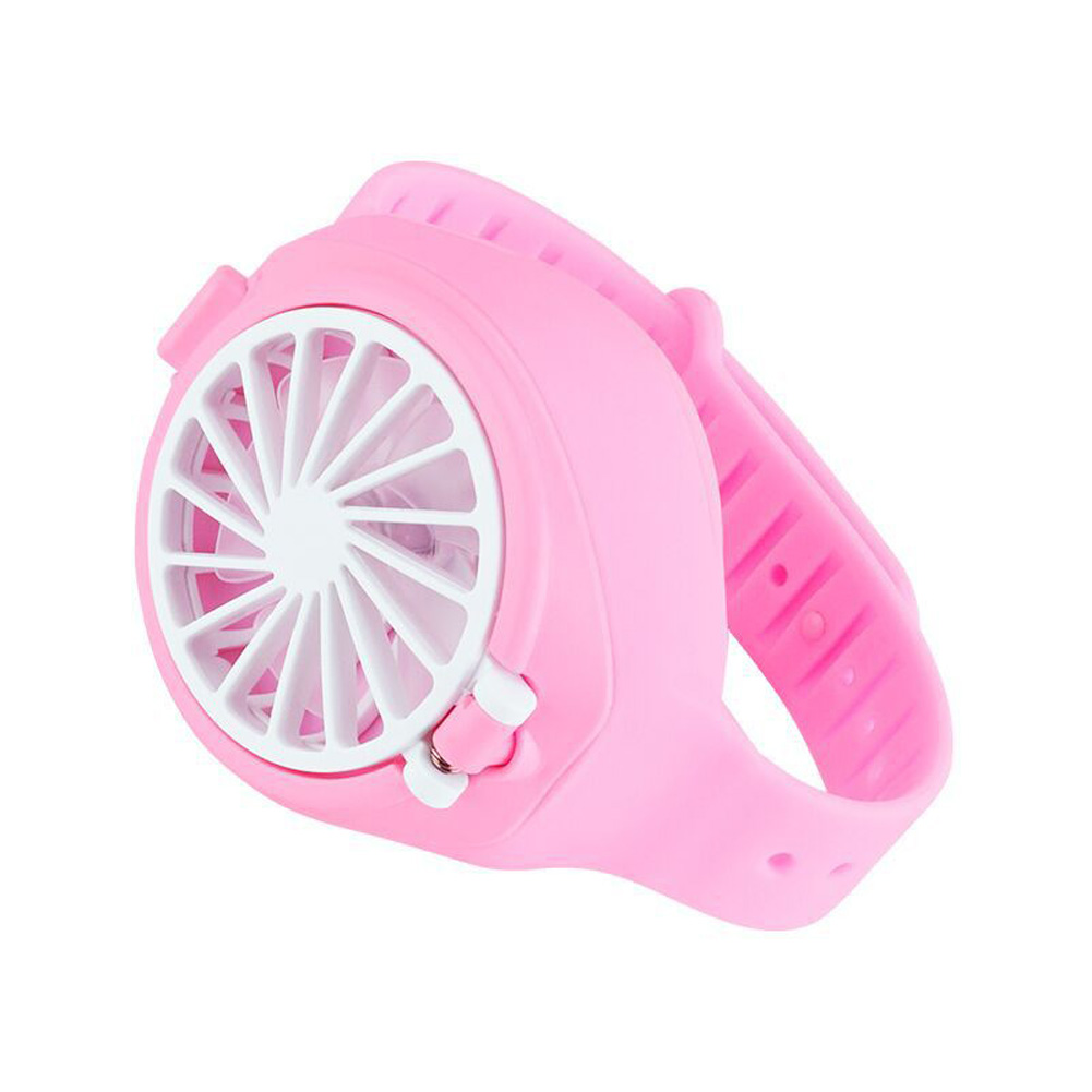 Mini 3 Modes Speed Fan Portable USB Charging Watch Fan for Student Kids Pink_As shown