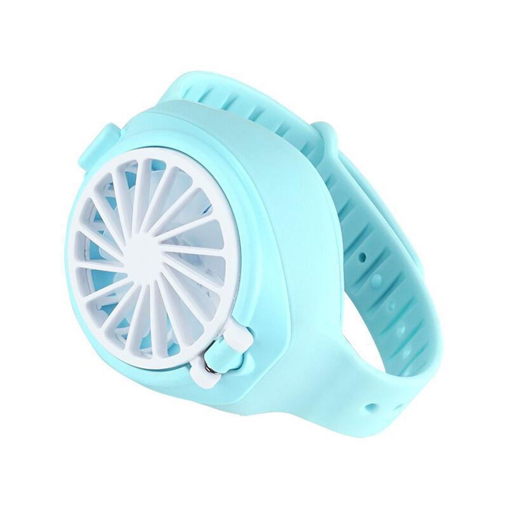 Mini 3 Modes Speed Fan Portable USB Charging Watch Fan for Student Kids blue_As shown