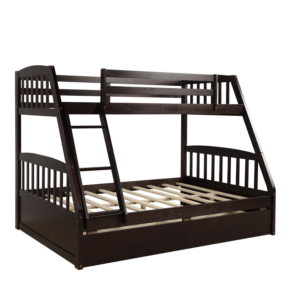 [US Direct] Solid Wood Twin Over Full Bunk  Bed With Two Storage Drawers Householed Furniture Strong coffee