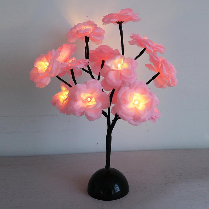 Led Camellia Flower Branch Lamp for Dining Table Room Bedroom Shop Decoration Night Light