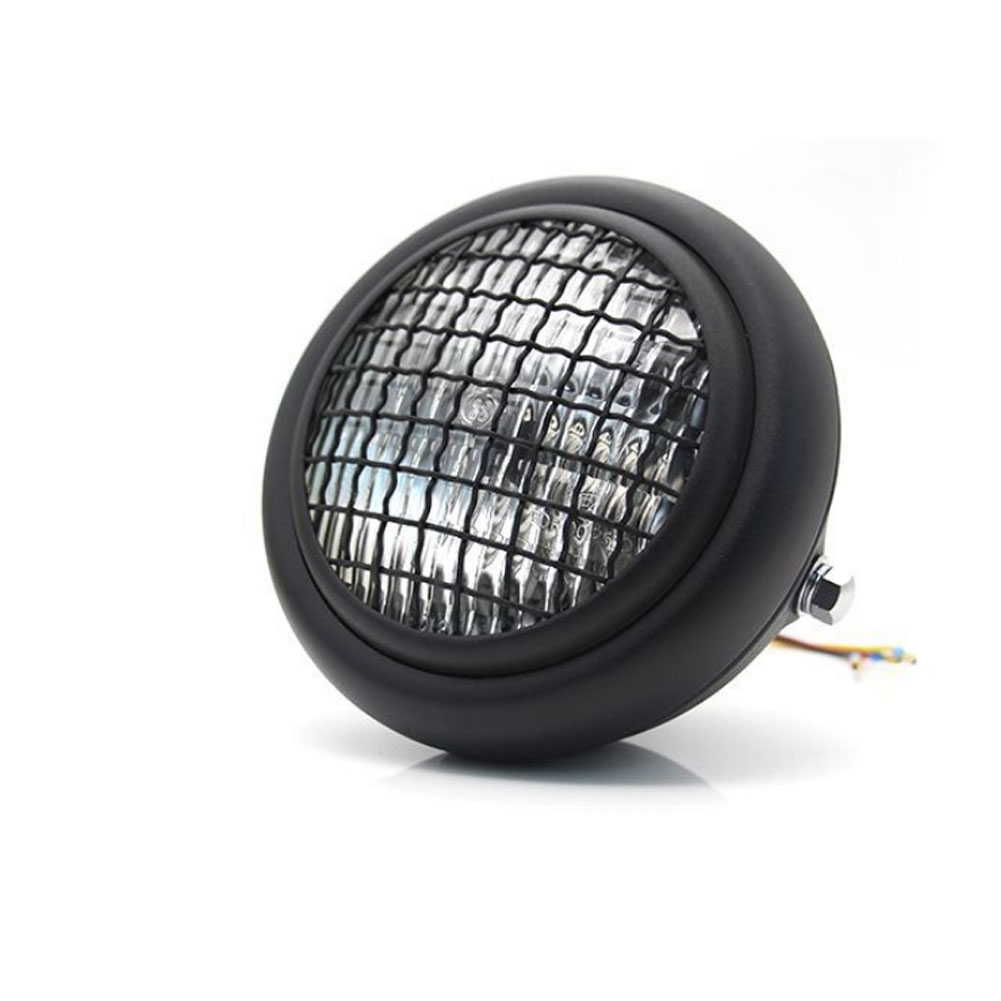 Motorcycle Grille Headlights Motorcycle  Headlight Metal Retro Round 55W 12V Headlights Black shell white glass
