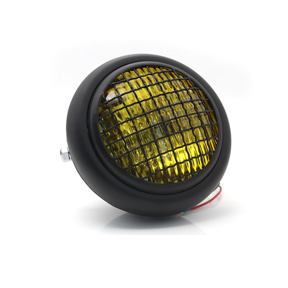 Motorcycle Grille Headlights Motorcycle  Headlight Metal Retro Round 55W 12V Headlights Black shell yellow glass