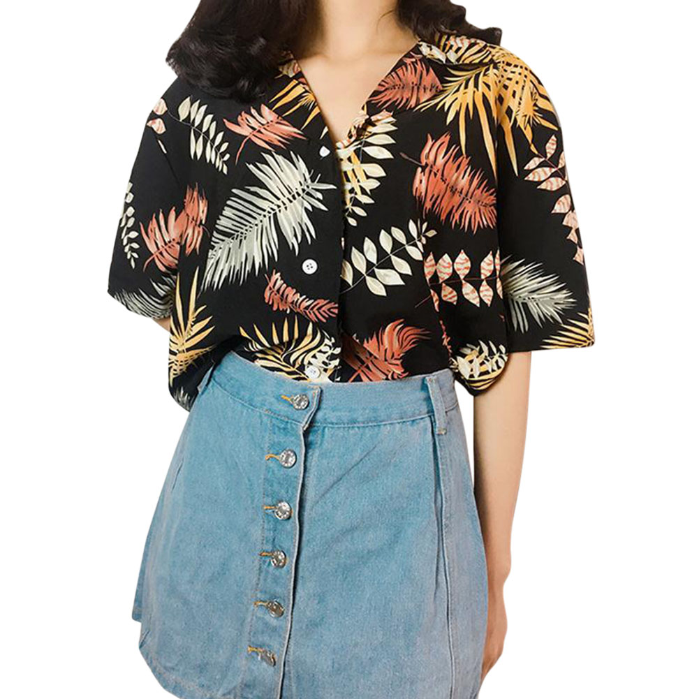 [Indonesia Direct] Women Summer Sexy V-neck Casual Printing Hawaii T-shirt black_One size
