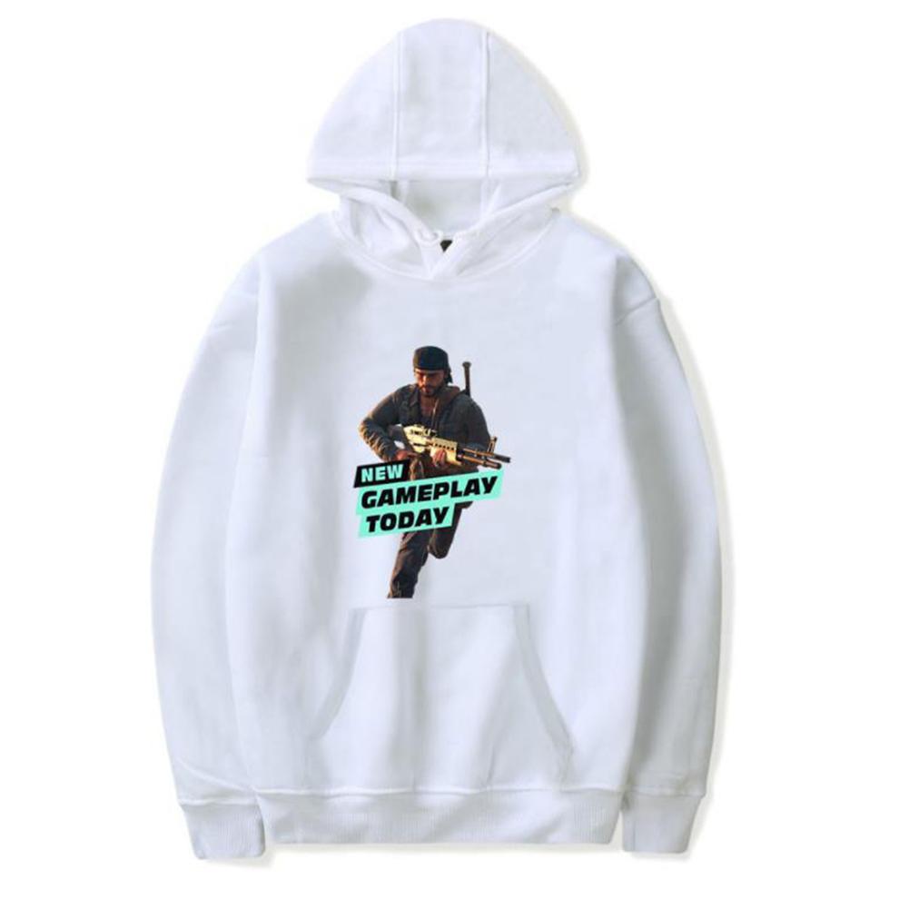 Men Fashion Game Figure Printing Hooded Sweatshirt White A_L
