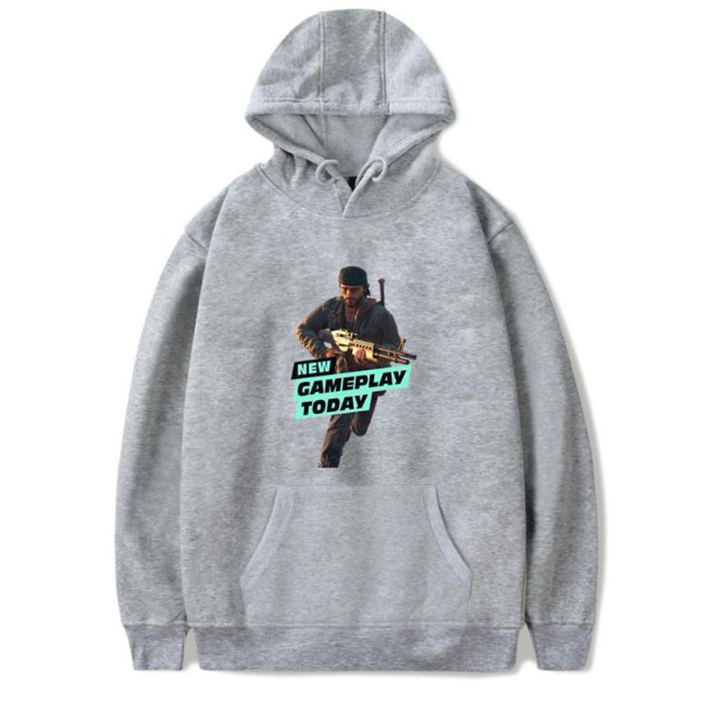 Men Fashion Game Figure Printing Hooded Sweatshirt Gray A_L