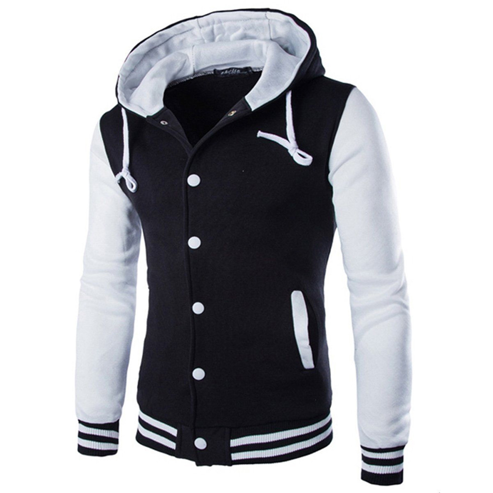 Men Fashion Slim Fit Sweatshirts Short Style Matching Color Tops Hoodies white_M