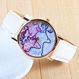 [EU Direct] 3 Colors New Arrival World Map Leather Strap Watches?(White)
