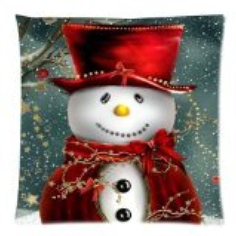 [EU Direct] 2014 New Arrival Christmas Snowman Custom Zippered Square Pillowcase 18x18 (one side) Cushion Cover Case Pillow18-874