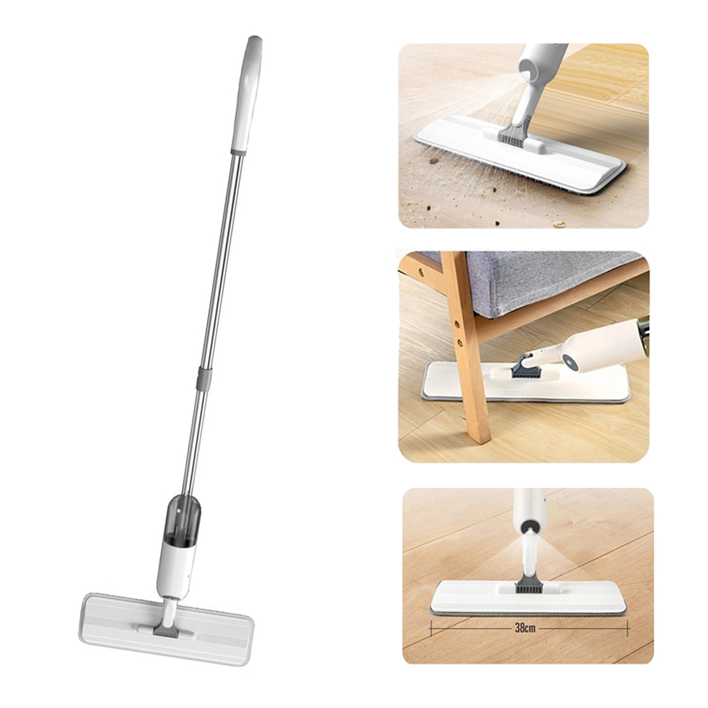 Water Spray Flat Mop Floor Cleaner 360 Spin Head Replaceable Mop Pad Household Cleaning Tool white
