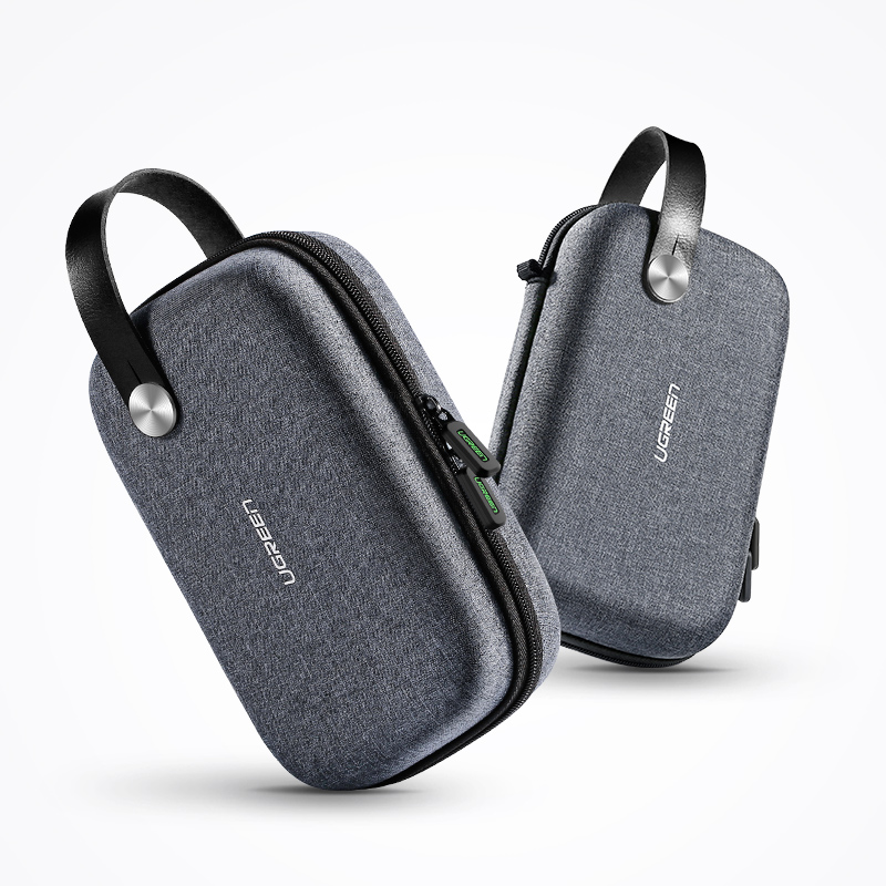 [US Direct] Original UGREEN Power Bank Travel Case, Hard Case Box for 2.5 Hard Drive Disk USB Cable External Storage Carrying SSD HDD Case Black