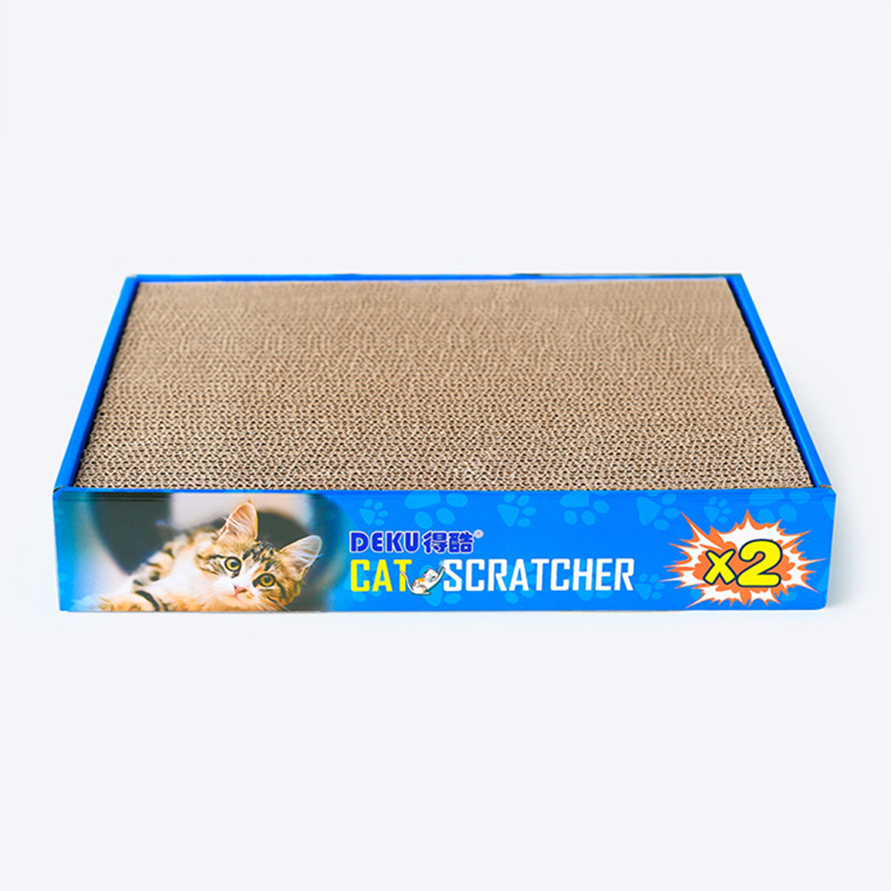 Scratching Board Double Side Corrugated Paper Claws Grinding Cat Toy Box Packing Blue