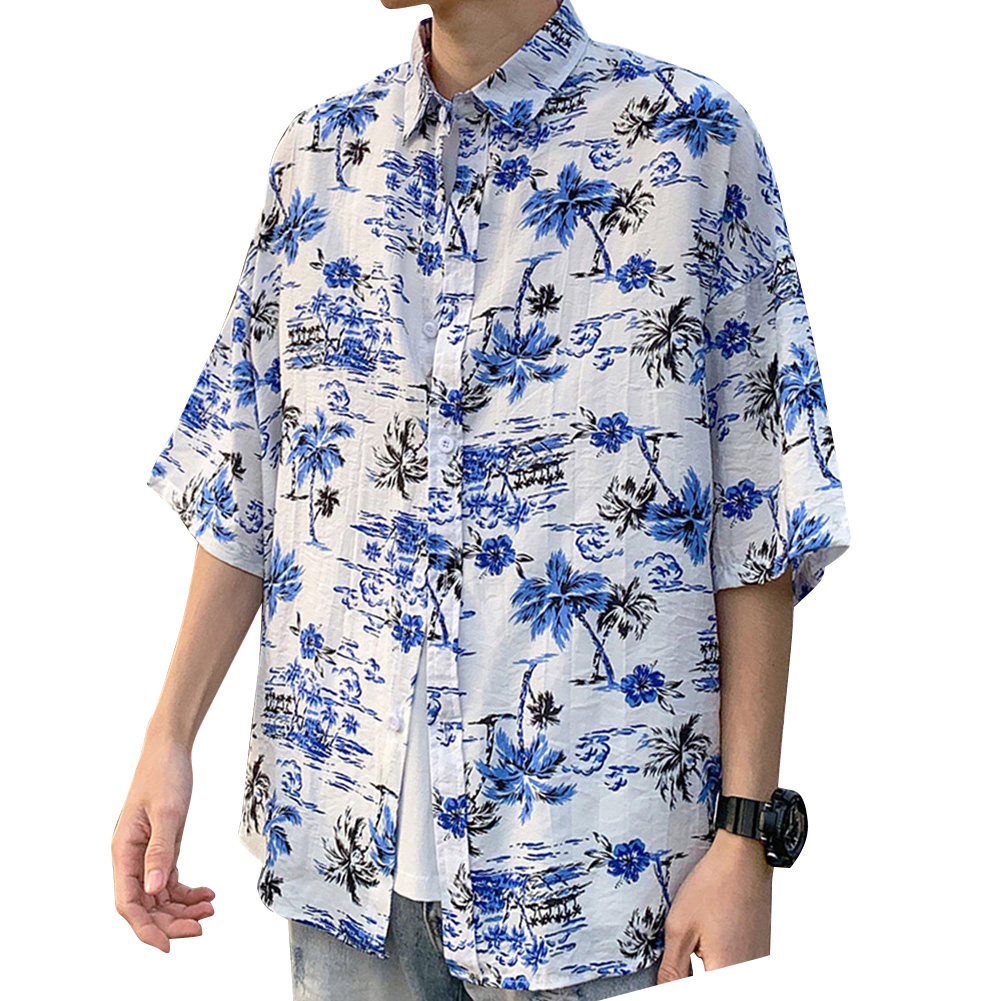 Women Men Leisure Shirt Personality Coconut Tree Printing Short Sleeve Retro Hawaii Beach Shirt Top Summer C112 #_XL
