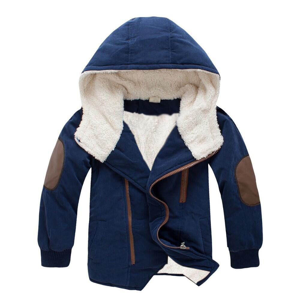 Kids Boys Girls Thicken Fleece Medium Long Hooded Coat Navy_140cm