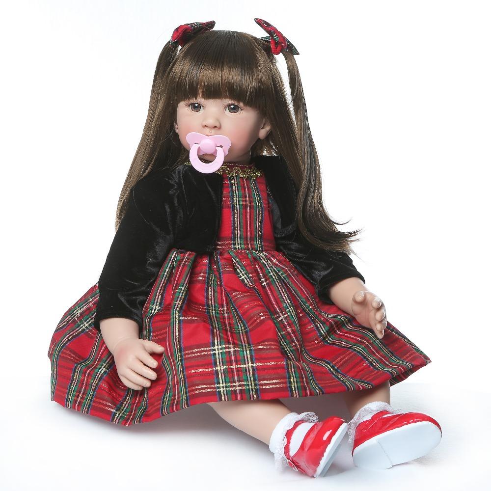 60cm Silicone Reborn Baby Dolls Baby Doll Alive Realistic Boneca Bebes Lifelike Real Girl Doll Reborn for Birthday Christmas