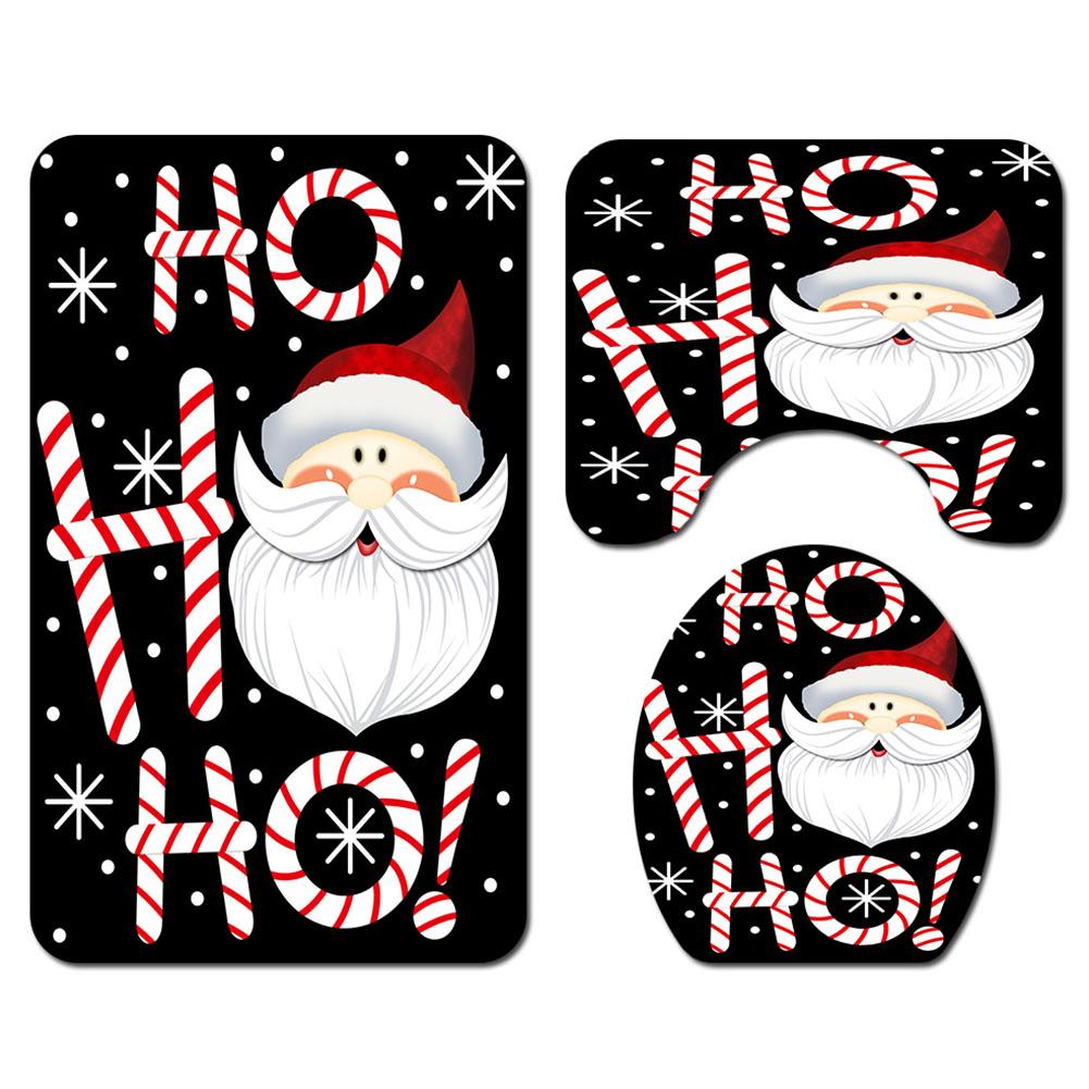 Santa Claus Pattern Printing Bath set/Shower Curtain/Toilet Mat Set for Christmas Decor black_3pcs mat