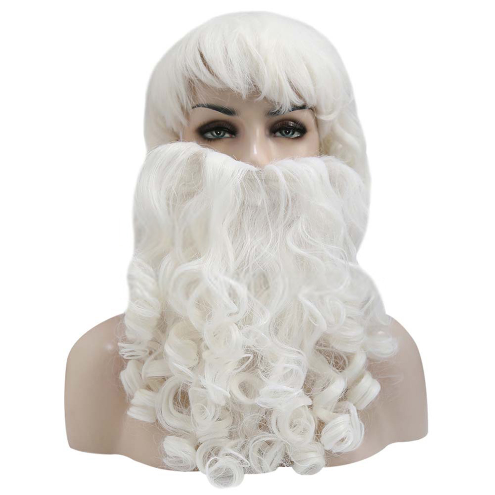 Santa Claus Wig + Beard Set Christmas Decorative Costume Accessory Adult Cosplay Fancy Dress Beard + wig set