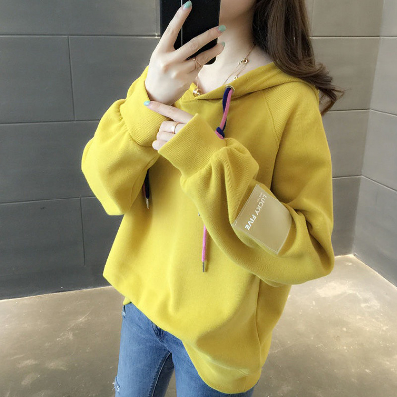 Women Loose Thickening Fleece Lined Casual Sport Hooded Pullover for Autumn Winter   yellow_M