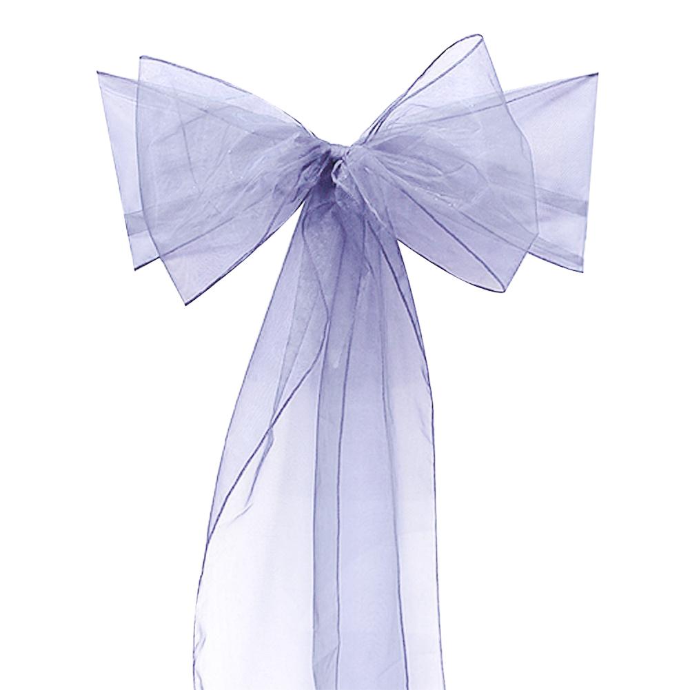[US Direct] Imixcity Beautiful Organza Chair Ribbon Bows Sash for Wedding or Banquet Silver 10PCS