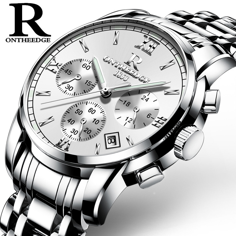 Men Automatic Waterproof Noctilucence Mechanical Watch with Steel Brand Rome 026 silver side on white